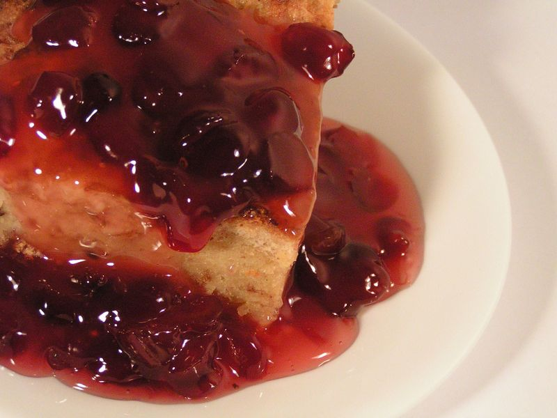 Eggnog Bread Pudding with Bourbon Cranberry Sauce